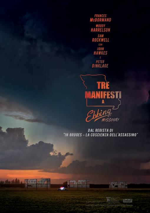 Tre manifesti a Ebbing, Missouri film da vedere 2017 2018 Martin McDonagh Frances McDormand Woody Harrelson Sam Rockwell locandina italiana