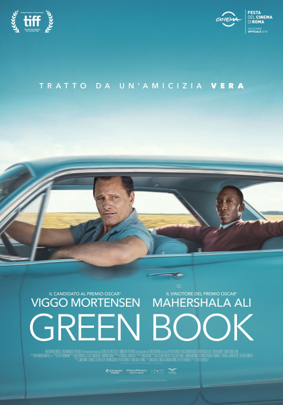 Green Book film da vedere 2018 al cinema Viggo Mortensen Mahershala Ali Oscar 2019 Academy Awards locandina